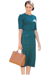 Crewneck Knit Top & Patch Pockets Pencil Skirt Co-ord