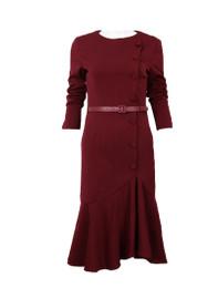 DOAB Burgundy Dress with Irregular Fishtail Skirt