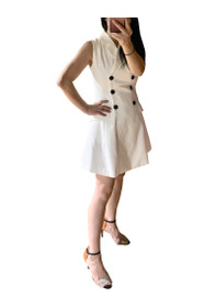 Double Breasted Sleeveless White Tuxedo Dress