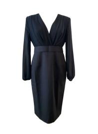 Deep V-neck Sheer Balloon Sleeve Midi Dress in Black