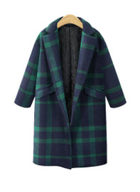Green Tartan Mid-Length Cocoon Coat
