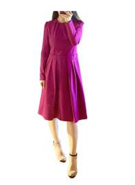 Raspberry Pink Puff Sleeve Midi Dress
