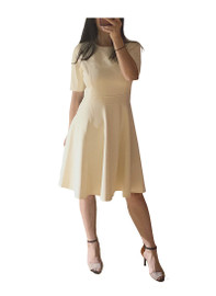 Elbow Sleeve Fit-And-Flare Midi Dress in Light Beige