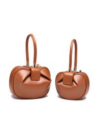 Sculptural Leather Tote Bag in Tan