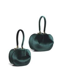 Sculptural Velvet Tote Bag in Emerald Green