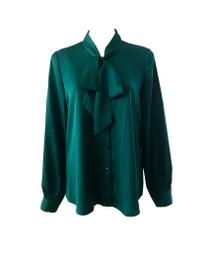 Pussy-bow Long Sleeved Blouse in Peacock Green
