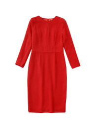 Body-hugging Piped Sheath Pencil Dress in Bright Red