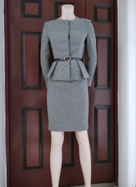 Peplum Blazer & Pencil Skirt Co-ord Set in Grey