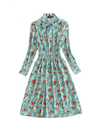 Green Poppy-Print Pussy Bow Shirt Dress