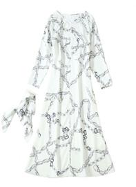 V-Neck Chain-link Print A-line Dress