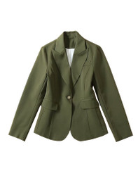 One Button Tailored Duchess Blazer in Olive Green