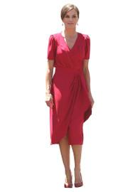 Empire Ruffled Button Midi Dress in Red