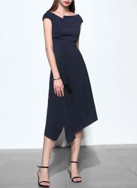 Off Shoulder Asymmetric Dress in Dark Navy