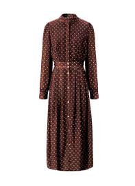 Mandarin Collar Polka Dot Midi Shirt Dress in Burgundy