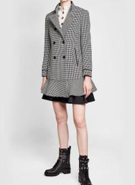 Ruffle-detailed Wool Houndstooth Caban Coat
