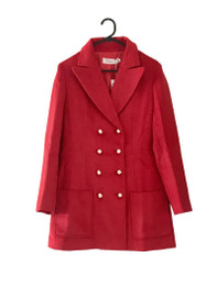 Gold Button Double-breasted Blazer Coat in Red