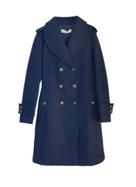 Military Style Double Breasted Wool Coat in Navy
