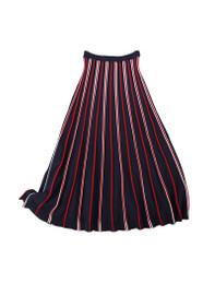 Elastic Waist Striped Knit Midi Flared Skirt