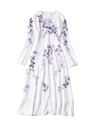 Oriental Embroidered Long Sleeved Midi Flare Dress