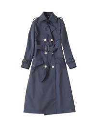 Double Breasted Classic Trench Coat in Navy