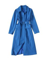 Belted Utility Lightweight Midi Coat in Dark Blue