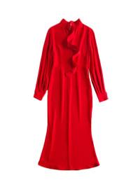 Slash Front Long Sleeve Midi Dress in Red