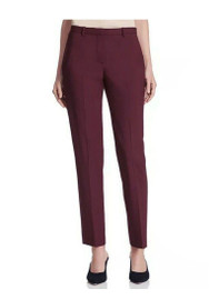 Mid-Rise Ankle Length Crop Trousers in Burgundy