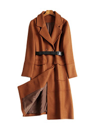 DOAB Toffee Long Wool Coat With Belt