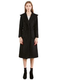 Cashmere Long Hooded Wrap Coat in Black