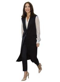 Tuxedo-Style Longline Vest Jacket in Black
