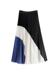 Contrast Panel Pleated Midi Skirt with Elastic Waistband