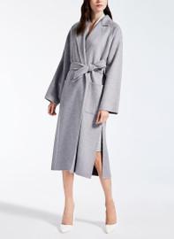 Belted Longline Wrap Coat in Silver Grey