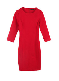 Wide Neck Little Red Pencil Dress with 3/4 Sleeve