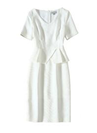 DOAB Peplum Mock Two-Piece Pencil Dress in White