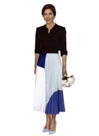 Black Blouse & Pleated Midi Skirt Co-ord Set