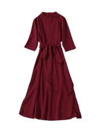 High Neck Slit Belted Midi Dress in Burgundy