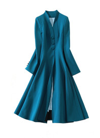 Swan-Neck Fit And Flare Midi Dress Coat in Teal