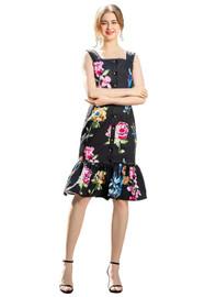DOAB Floral Square Neck Strappy Frill Hem Midi Dress