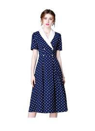 DOAB Vintage Shawl Collar Midi Dress in Blue Polka Dot