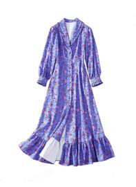 Vintage Floral Print Button Frill Midi Dress in Lavender