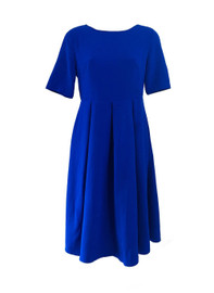 Capped Sleeve Belted Skater Midi Dress in Royal Blue