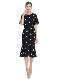 DOAB Polka Dot Print Flutter Sleeve Fishtail Midi Dress