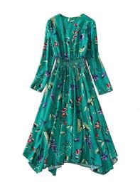 V-neck Shirred Waist Asymmetric Midi Dress in Floral Print
