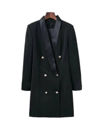 Gold Button Double Breasted Blazer Dress in Black