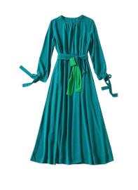 Vintage Silk-Georgette Belted Maxi Silk in Green
