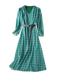 High Waist Green Polka Squares A-line Midi Dress