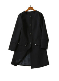 Collarless Mid-Length Cocoon Coat in Black