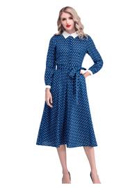 Geo Printed Belted Flared Midi Dress in Dark Blue