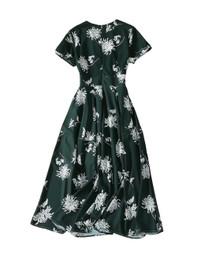 Ladylike Dahlia-Print Midi Dress in Forest Green