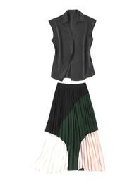 Chiffon Black Top & Pleated Midi Skirt Co-Ord Set